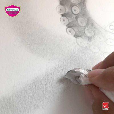 Master Art สอนวาดภาพ หนวดปลาหมึก ดินสอ